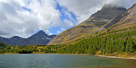 Glacier National Park: Fishercap Lake in Many Glacier an Area of Glacier National Park, Montana. Stock Photo