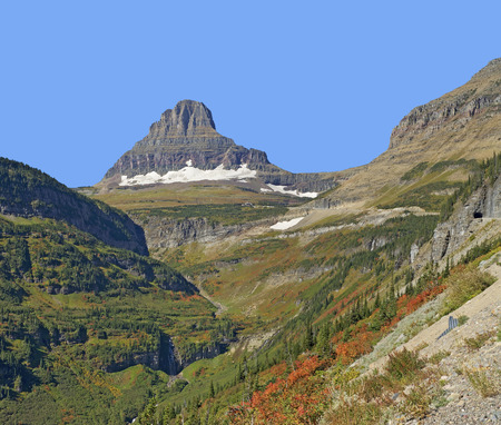 reynolds: Reynolds Mountain in Glacier National Park, Montana Stock Photo