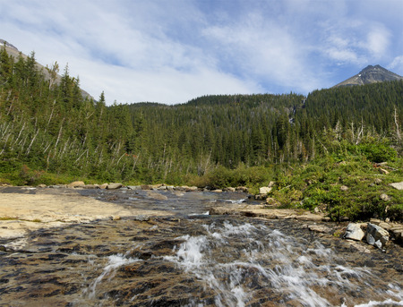 Glacier National Park: Siyeh Creek with Mt Siyeh in Background Glacier National Park, Montana USA.