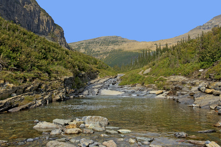 Glacier National Park: Siyeh Creek Glacier National Park, Montana USA. Stock Photo