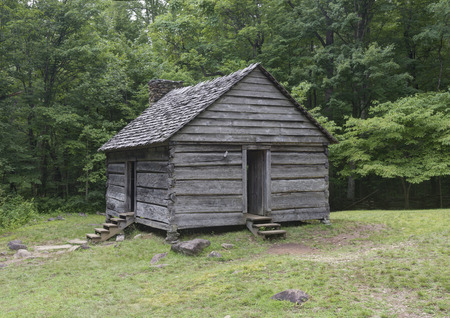 jim: Jim Bales Log Cabin located on the Roaring Fork Motor Nature Trail in the  Great Smoky Mountains National Park, Tennessee.  Public Property no Property Release required. Stock Photo