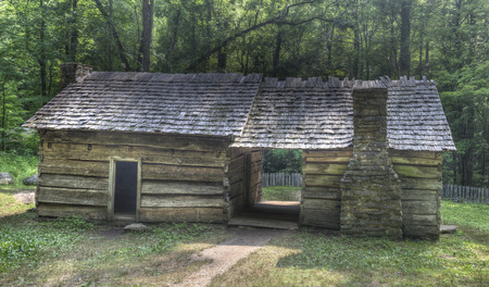 great smoky national park: Ephraim Bales Log Cabin located on the Roaring Fork Motor Nature Trail in the Great Smoky Mountains National Park, Tennessee.  Public Property no Property Release required.