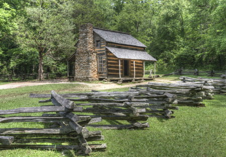 John Oliver Log Cabin located in Cades Cove Area of the Great Smoky Mountains National Park, Tennessee. Public Property no Property Release required. Reklamní fotografie