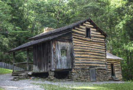 great smoky national park: Elijah Oliver Log Cabin located in Cades Cove Area of the Great Smoky Mountains National Park, Tennessee.  Public Property no Property Release required.