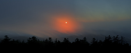 great smoky mountains national park: Sunset Through the Clouds taken from Clingmans Dome in The Great Smoky Mountains National Park.