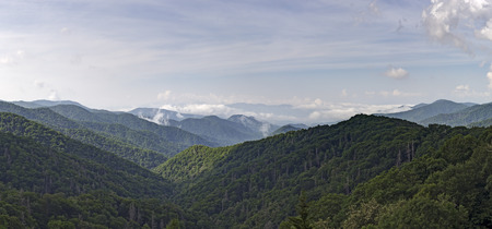 great smokies: View of the Great Smoky Mountains from Newfound Gap Road Overlook.