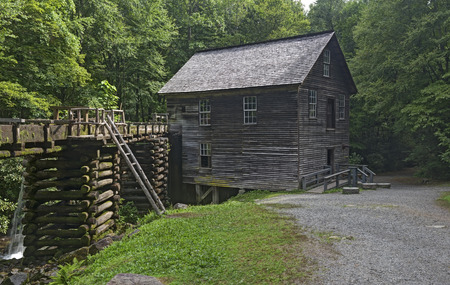 grist mill: The Mingus Mill is a historic grist mill that uses a water powered turbine to power all the machinery in the building.  A Public Property located in the Great Smoky Mountains National Park.