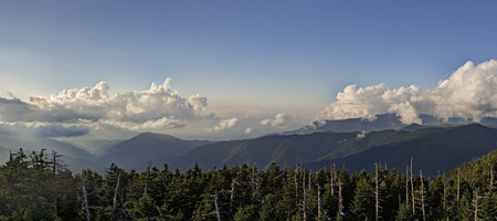 Great Smoky Mountains Panorama taken from Clingman's Dome in The Great Smoky Mountains National Park. Фото со стока