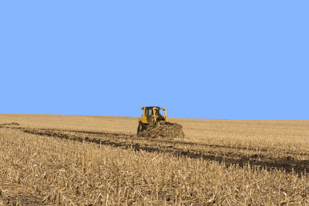 Example of grass waterway construction on Iowa farm cropland.