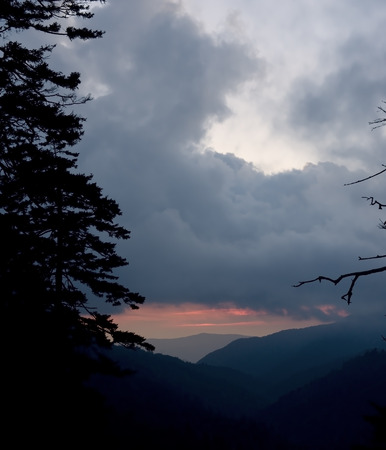 newfound gap: Sunset Through the Clouds taken from Newfound Gap Road in The Great Smoky Mountains National Park.