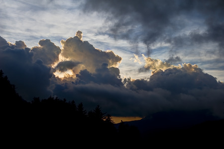 great smoky mountains national park: Sunset Through the Clouds taken from Newfound Gap Road in The Great Smoky Mountains National Park.