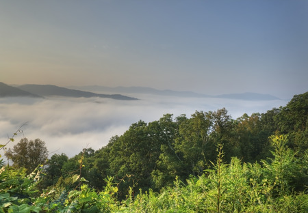 pinnacle: View above the clouds from the Lane Pinnacle View overlook, Blue Ridge Parkway, North Carolina. Stock Photo