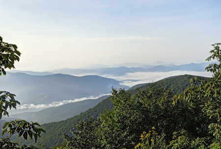 north ridge: View above the clouds from an overlook, Blue Ridge Parkway, North Carolina. Stock Photo