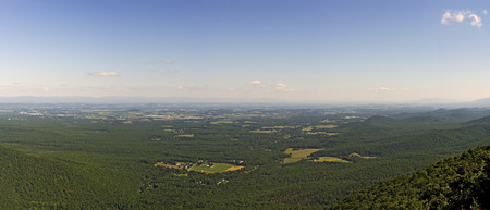 roost: Blue Ridge Mountains view from Ravens Roost on Skyline Drive in Shenandoah National Park. Stock Photo
