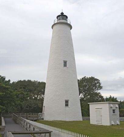 outer banks: Ocracoke Lighthouse on Ocracoke Island in the Outer Banks of North Carolina.  Owned and operated by the National Park Service.  Public Property and therefore no property release required.