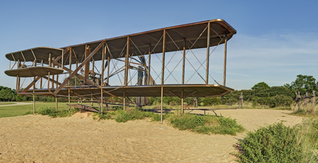 Wright Brothers National Memorial, Full Sized First Flight Replica Sculpture at Kill Devil Hills, North Carolina.  Owned and operated by the National Park Service.  Therefore the sculpture is public property and no property release required.