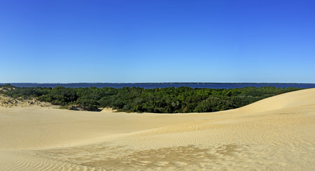 jockey's: Jockeys Ridge State Park Sand Dunes and Roanoke Sound Panorama in the Outer Banks, North Carolina. Stock Photo
