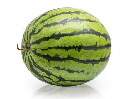 Gehele watermeloen die op witte achtergrond wordt geïsoleerd Stockfoto