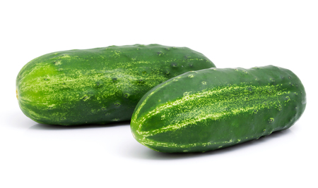 Fresh cucumbers isolated on white background