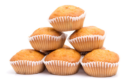Group of muffins isolated on white background