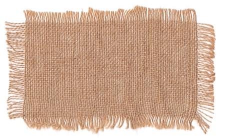 Texture sack background with frayed edges on white background 스톡 콘텐츠