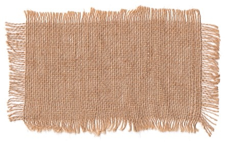 Texture sack background with frayed edges on white background Stockfoto