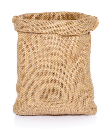 Empty burlap sack bag isolated on white background
