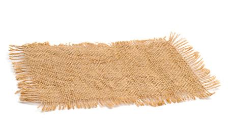 Texture sack background with frayed edges on white background Stock Photo