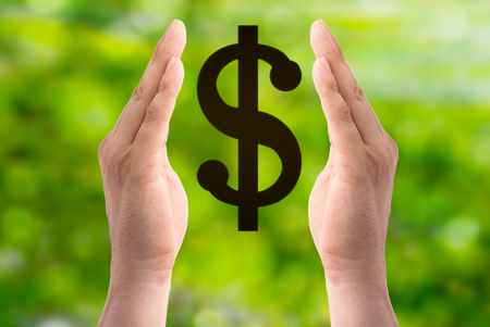 Hands hold dollar sign on green background Stock Photo