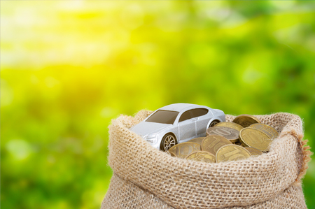 A car with coins in bag from sacking green background Stock Photo
