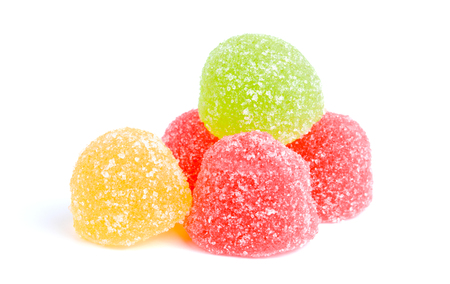 Colored jelly sweet sugar candies isolated on white background