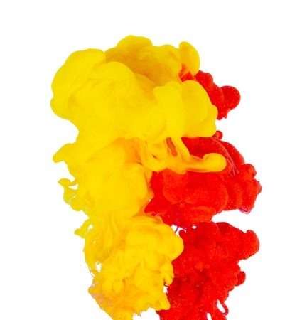 Yellow and red colorful ink in water abstract