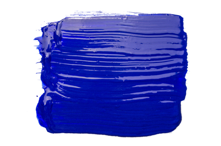 Blue paint brush strokes texture isolated on white background