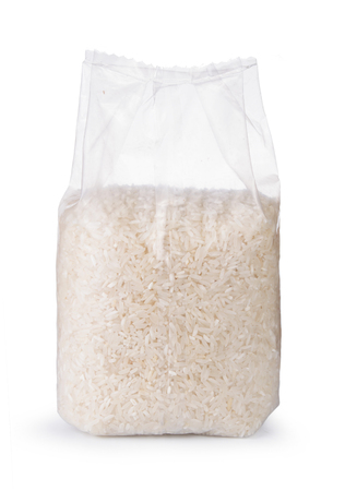 Rice in transparent plastic bag isolated on white background 版權商用圖片