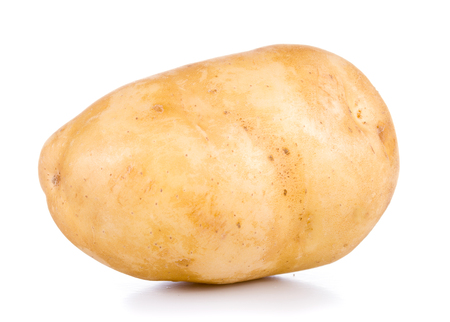One raw potato isolated on white background