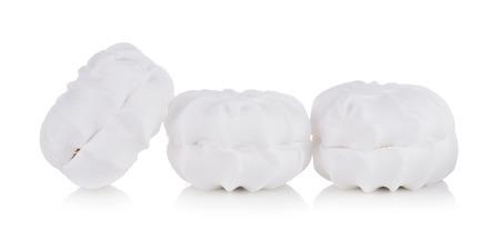 Sweet dessert group of white zephyr marshmallows isolated on white background,