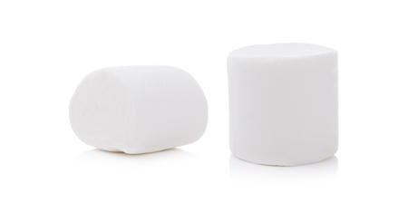 Two Fluffy white marshmallow closeup isolated on white background.