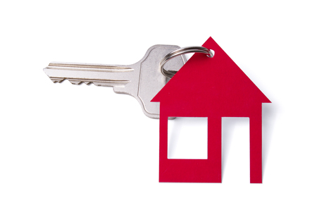 house shaped by keychain isolated on white background Stock fotó