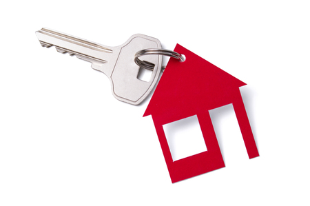 house shaped by keychain isolated on white background