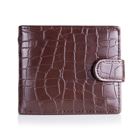One Brown natural leather wallet isolated on white background.