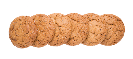 Group of homemade oatmeal cookies isolated on white background 写真素材