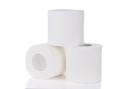 toilet paper isolated on white background Stock Photo