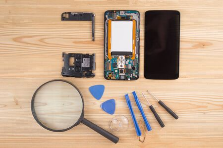 Cell phone repair. Smartphone parts and tools for recovery