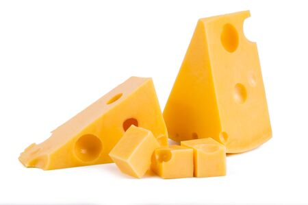 pieces of tasty yellow cheese isolated on white background 写真素材