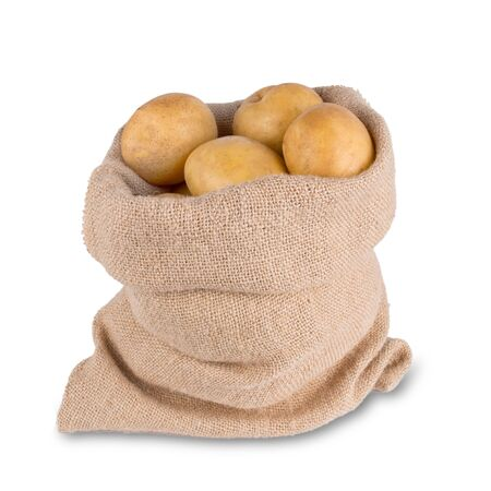 potatoes in burlap sack bag on white background