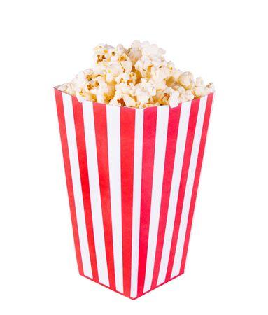 klassische Schachtel Popcorn isoliert auf weißem Hintergrund Standard-Bild