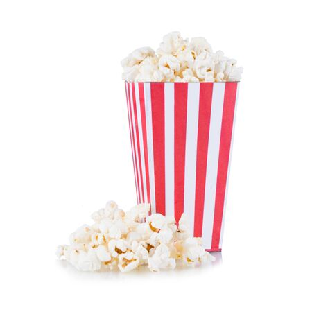 Popcorn in red and white cardboard box