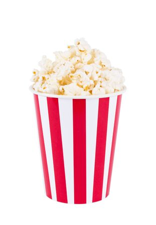 Popcorn in red and white cardboard box for cinema Imagens
