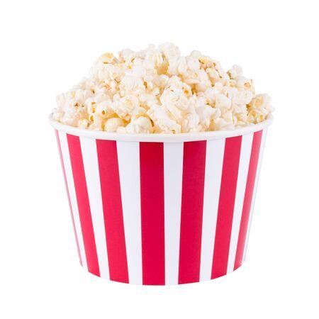 Palomitas de maíz en caja de cartón roja y blanca para cine