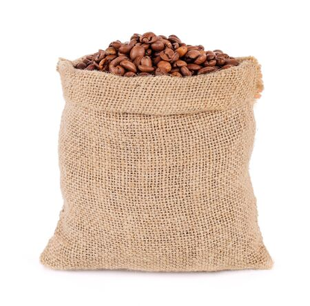 coffee beans in bag isolated on white background 免版税图像